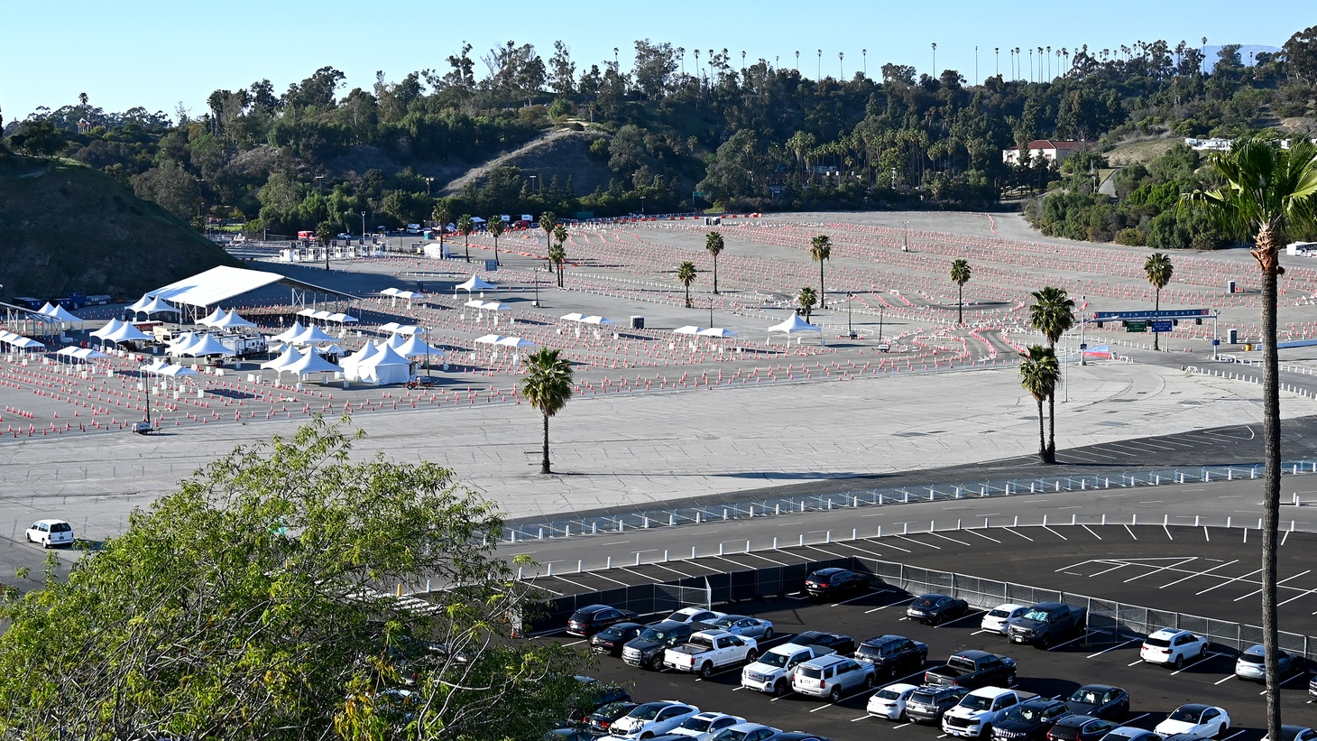 Traffic cones line the Dodger Stadium parking lot while it's used as a COVID-19 vaccine site, Mar 29, 2021, Los Angeles, California, USA.