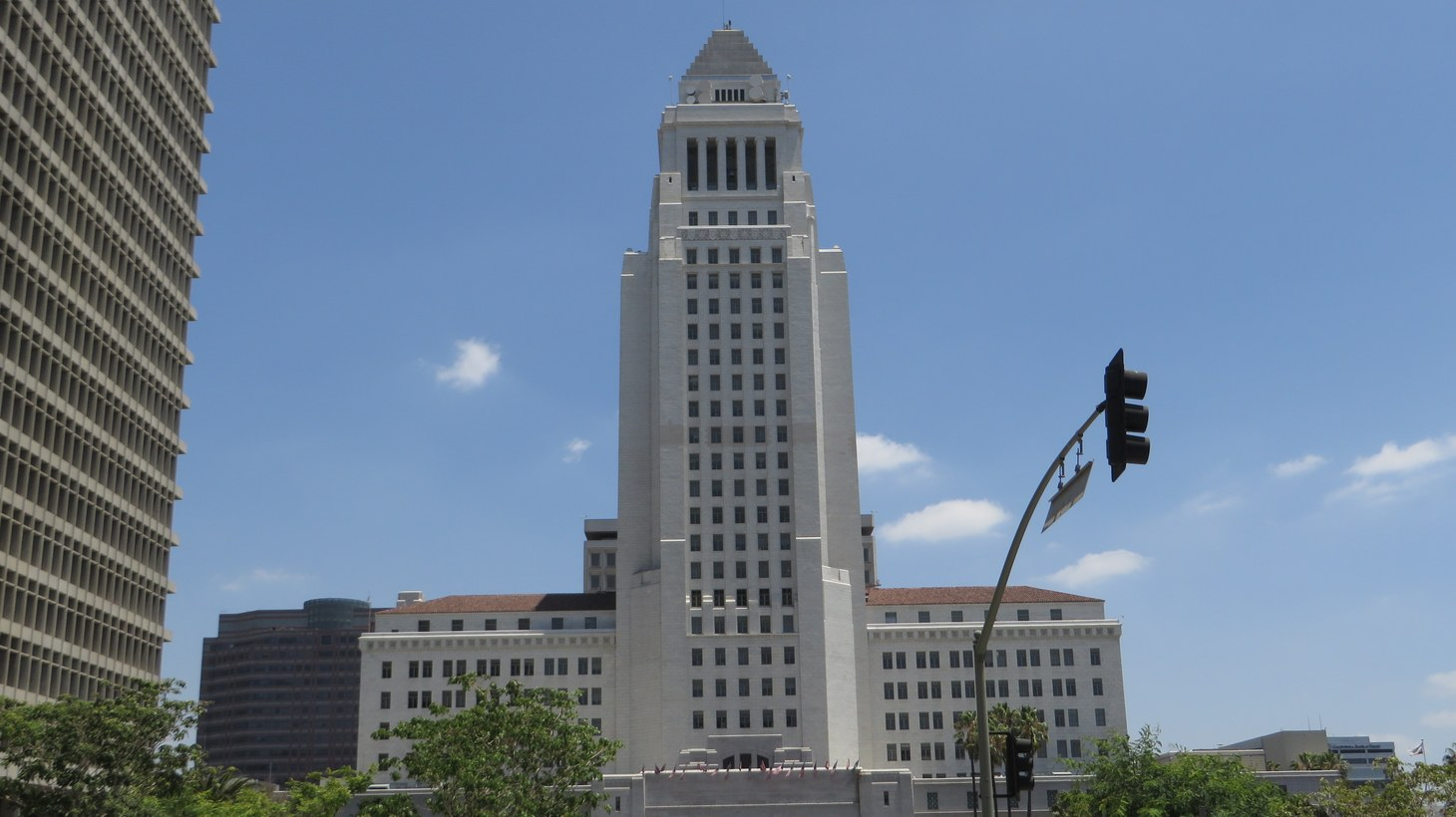 Los Angeles City Hall, completed 1928, is the center of the government of the city of Los Angeles, California, and houses the mayor's office and the meeting chambers and offices of the Los Angeles City Council.