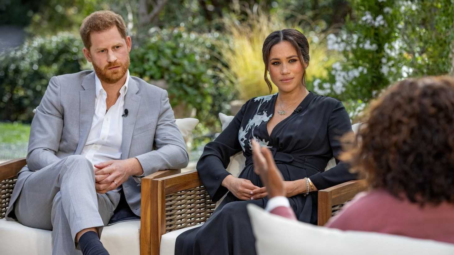 Britain's Prince Harry and Duchess of Sussex Meghan Markle sit down for an interview with Oprah Winfrey.